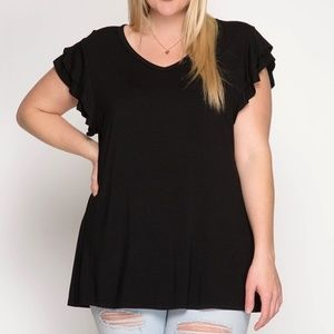 PLUS--Ruffled Short Sleeve Round Neck Knit Top